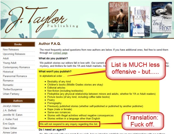 J. Taylor Publishing - Updated Author FAQ