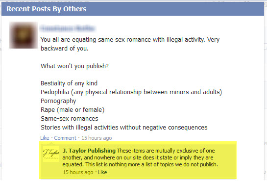 J. Taylor Publishing - Facebook Response - 8/8/12