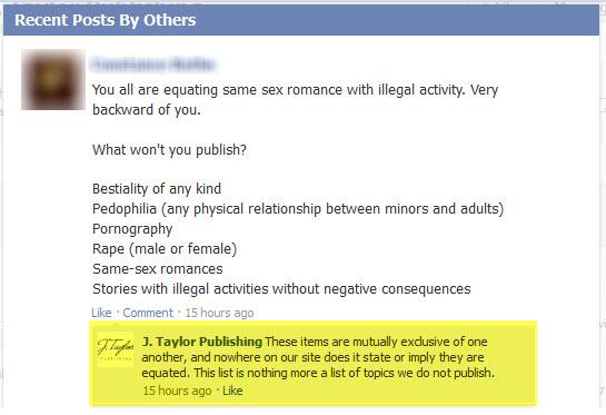 J. Taylor Publishing - Facebook Response - 8/8/12