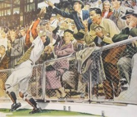 1950s vintage illustration baseball players and spectators