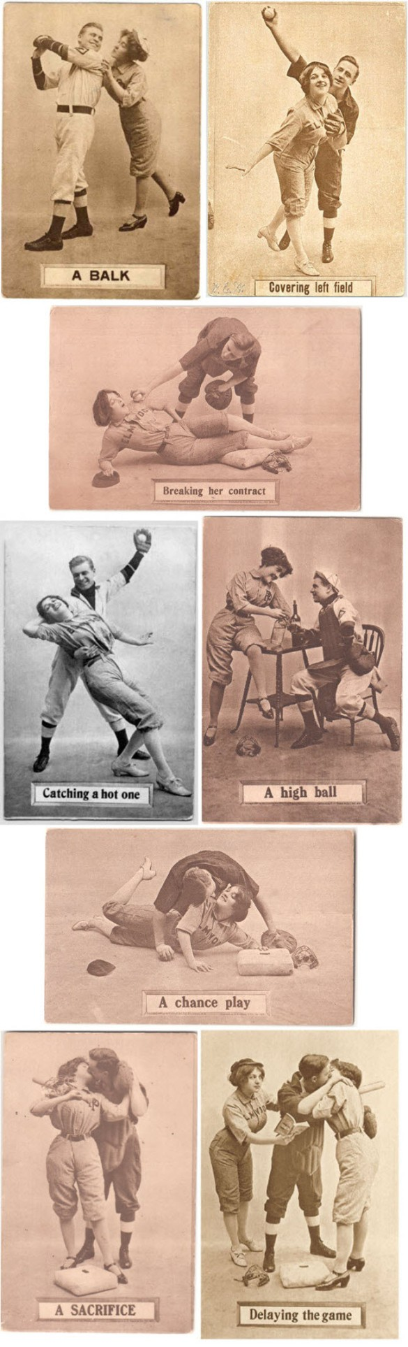 Vintage baseball comic postcards