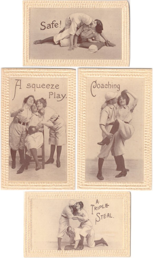 Racy vintage baseball postcards - date/copyright unknown