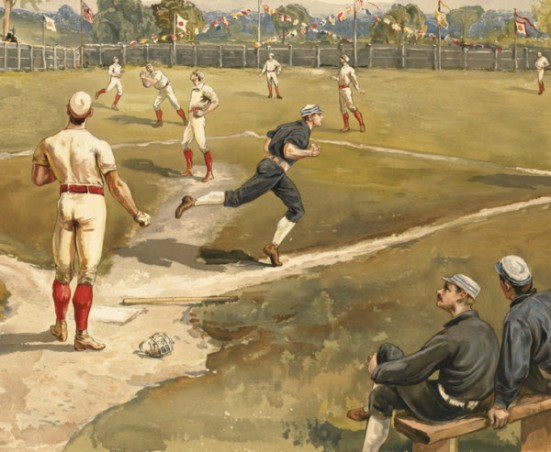 Detail of baseball painting by Henry Sandham (1842-1910)