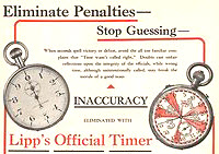 Vintage stopwatch ad - Eliminate Penalties, Stop Guessint