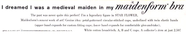 I dreamed I was a medieval maiden in my Maidenform bra