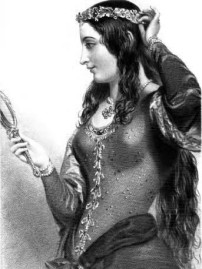 Medieval maiden with mirror
