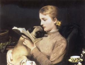 girl-reading-with-pug-charles-barber1