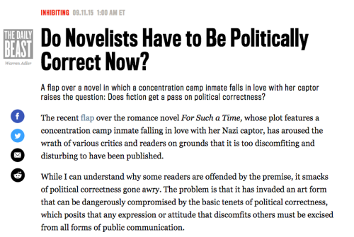 Do Novelists Have to Be Politically Correct Now?
