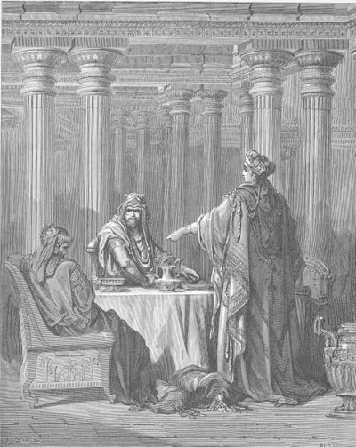 Esther Accuses Haman, Doré's English Bible, 1866